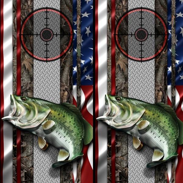 American Flag Oak-Ambush Bass Cornhole Wraps 01