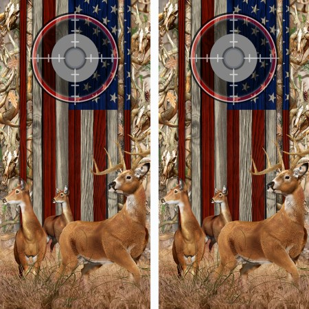 American Flag Obliteration Buck Camo Buck N Deer Wood Cornhole Board Wraps 15 Scope