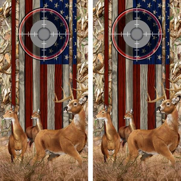 American Flag Obliteration Buck Camo Buck N Deer Wood Cornhole Board Wraps 15 Scope