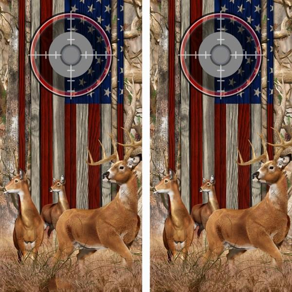 American Flag Obliteration Camo Buck N Deer Wood Cornhole Board Wraps 15 Scope