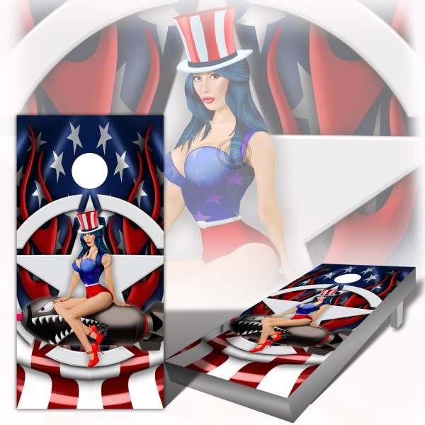 American Flag and Flames Pinup Cornhole Wraps