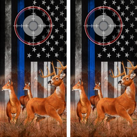 American Flag Police Blue Line Buck N Deer Cornhole Board Wraps 04 Scope