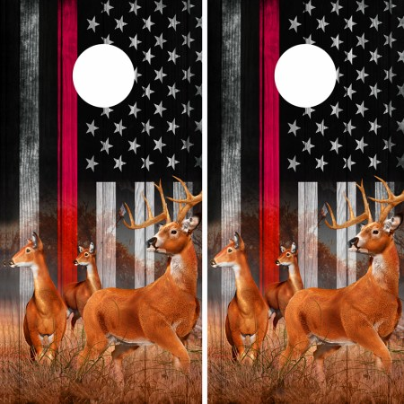 American Flag Subdued Red Line Buck N Deer Cornhole Board Wraps 06