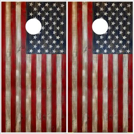 American Flag Rustic Wood Cornhole Wraps
