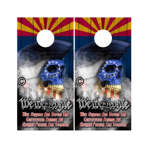 Arizona Flag Skull We The People Cornhole Wraps