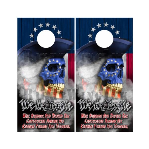 Betsy Ross Flag Skull We The People Cornhole Wraps