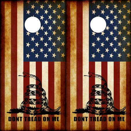 Don't Tread On Me American Flag Cornhole Wraps