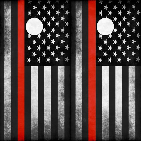 Firefighter Thin Red Line American Flag Cornhole Wraps