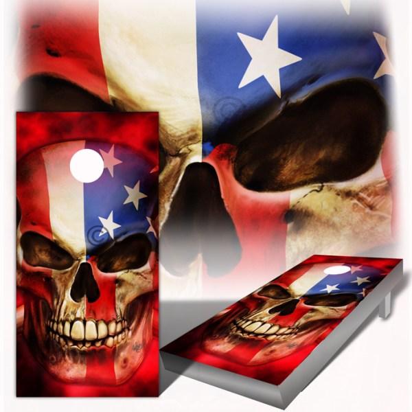 American Flag Patriot Hellish Background Cornhole Wraps