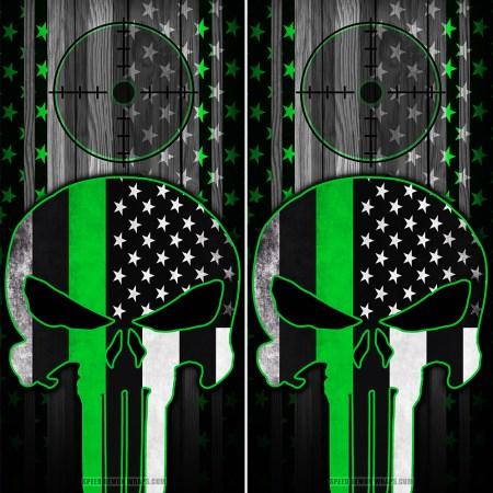 Punisher Green line American Flag Scope Wood Cornhole Wrap