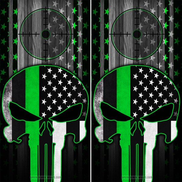 Punisher Green line American Flag Scope Wood Cornhole Wrap