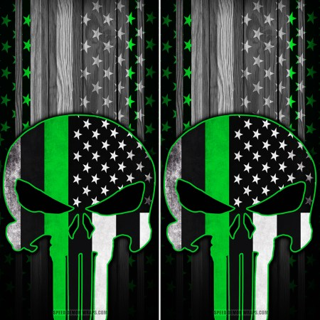 Punisher Green Line American Flag Wood Cornhole Wrap