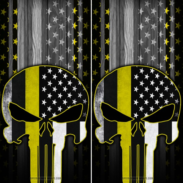 Punisher Yellow Line American Flag Wood Cornhole Wraps