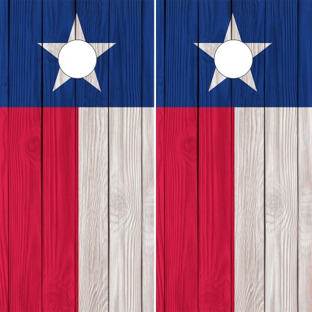 Texas Flag Cornhole Wraps - Texas Flags on Wood Grain Background