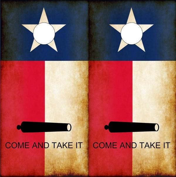 "Texas Flag ""Come and Take It"" Molon Labe Cornhole Wraps -"