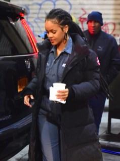 Rihanna heading to Ocean's Eight set on December 9, 2016 dreadlocks