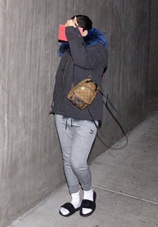 Rihanna at a studio in Los Angeles on December 19, 2016 Puma Fur Slides