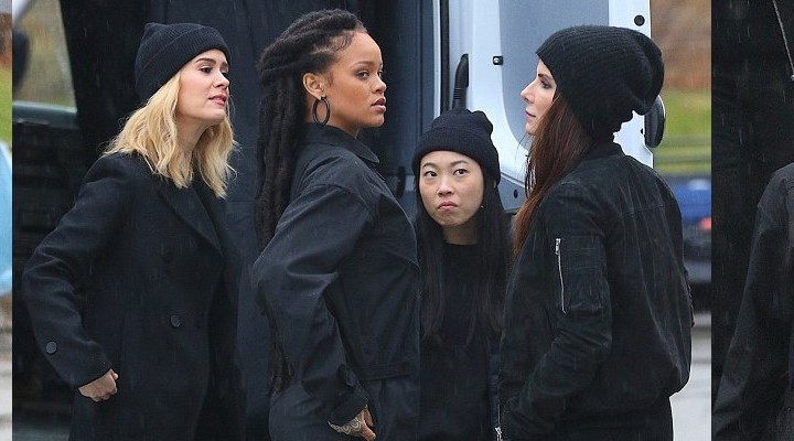 Rihanna films Ocean's Eight with Sandra Bullock and Sarah Paulson