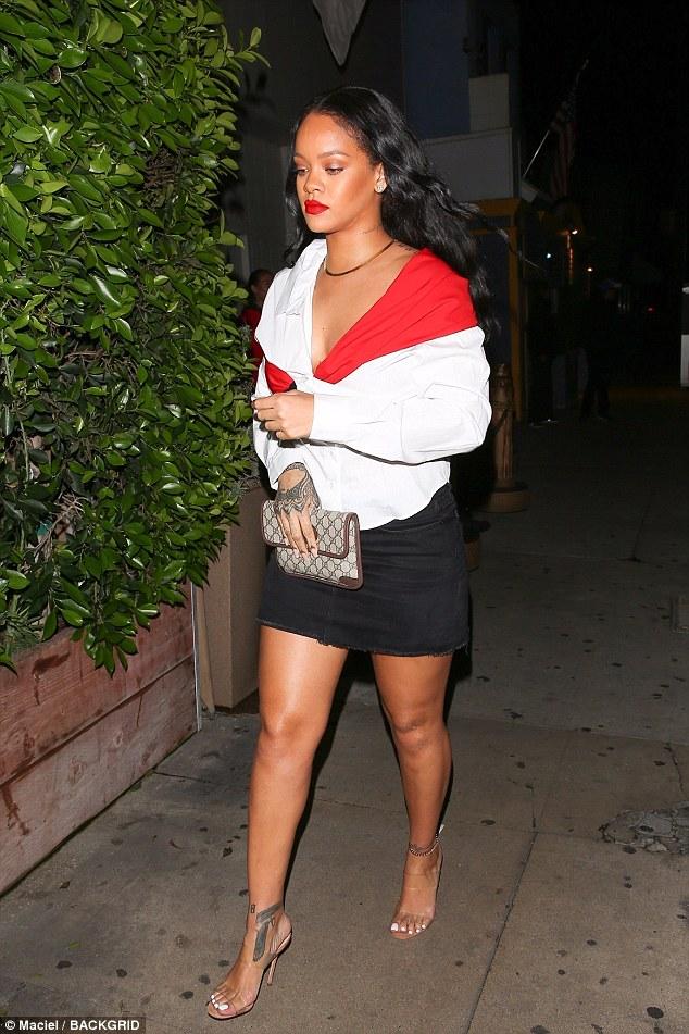 Rihanna dines at Giorgio Baldi November 11, 2017