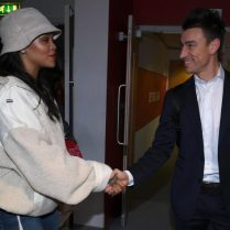 Rihanna attends Arsenal game in London February 3, 2018