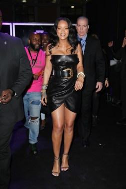 Rihanna attends Fenty Beauty launch in Milan on April 5, 2018 Versace