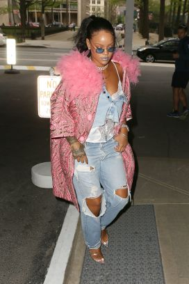 Rihanna out in New York City on May 5, 2018 Pink jacket