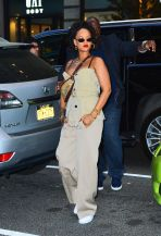 Rihanna spotted out and about in NYC on May 4, 2018 beige pants