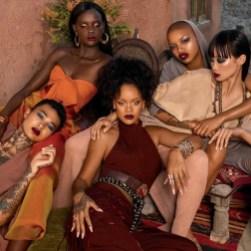 Fenty Beauty Rihanna poses with Duckie Thot, Asianna Scott and Slick Woods