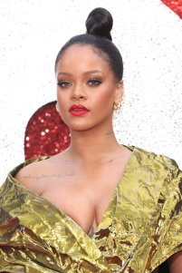 Rihanna attends Ocean's 8 premiere in London on June 13, 2018 face close up