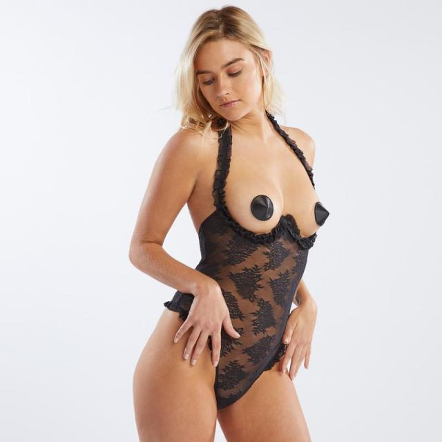 Rihanna Savage x Fenty Floral Lace Cupless Bodysuit Body Front
