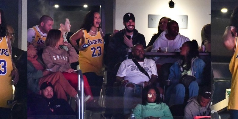 Rihanna attends Lakers game