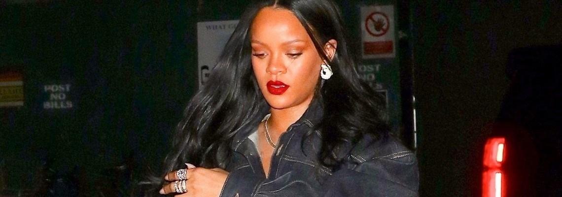 Rihanna rocks double denim for dinner in NYC
