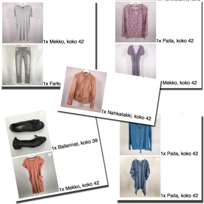 Emmy.fi:n valikoimista löysin paljon hyviä käytettyjä vaatteita itselleni. Kuvassa on thumbnail-kuvia tialusteni toimitusvahvistuksista.