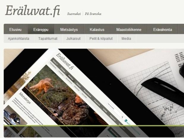 Eräluvat.fi sisältää lupapalveluiden lisäksi muun muassa uutisia ja tietoa valtion alueista.