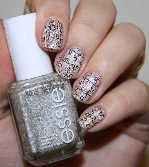 Stamping over glitter