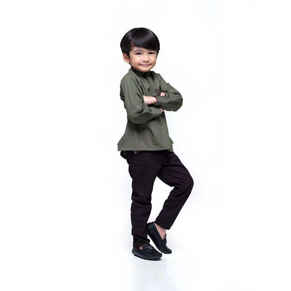 Kurta Khalique Kids ARMY GREEN 5 Rijal & Co