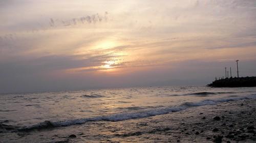 西伊豆の海と夕陽