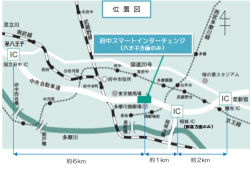 府中スマートインターチェンジ付近地図