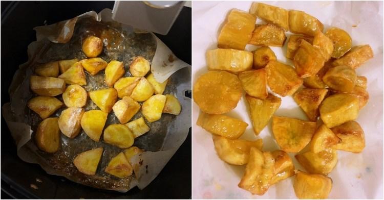氣炸鍋料理食譜   簡單做拔絲地瓜 不用油炸只需氣炸鍋