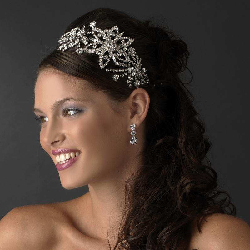 BRIDES HEADPIECE Vintage Style Silver Antique Side Accent