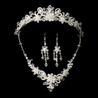 Silver Bridal Jewelry Set and Tiara of Swarovski Crystal