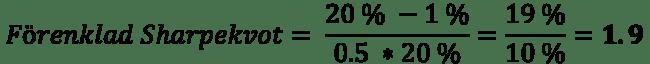 Exempel på beräkning av en förenklad Sharpekvot