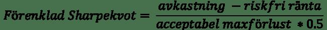 Sharpekvot som en förenklad formel