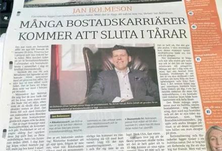 Försättsbild till artikeln: Har vi en bostadsbubbla i Sverige? - En fördjupning till min debattartikel i Metro idag med argument för och emot bostadsbubblan