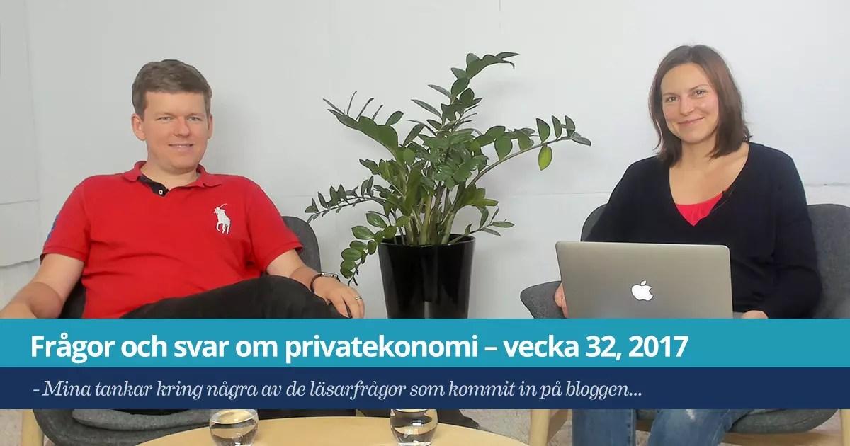 Försättsbild till artikeln: Frågor och svar om privatekonomi – vecka 32, 2017 - Mina tankar kring några av de läsarfrågor som kommit in på bloggen