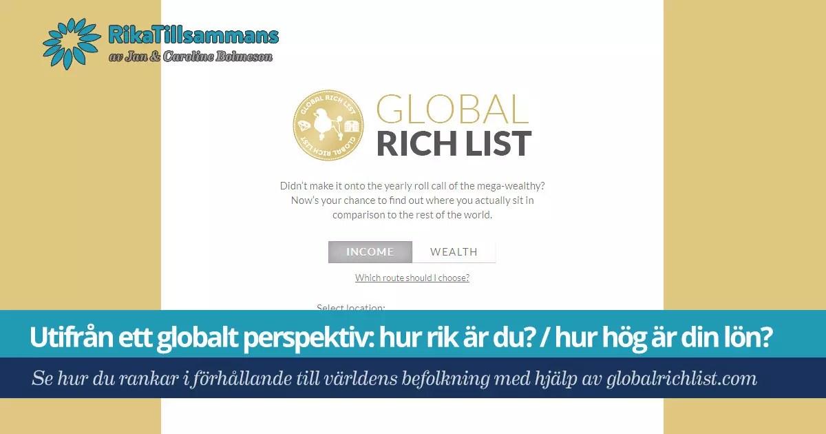 Försättsbild till artikeln: Utifrån ett globalt perspektiv: hur rik är du? / hur hög är din lön? - Se hur du rankar i förhållande till världens befolkning med hjälp av globalrichlist.com