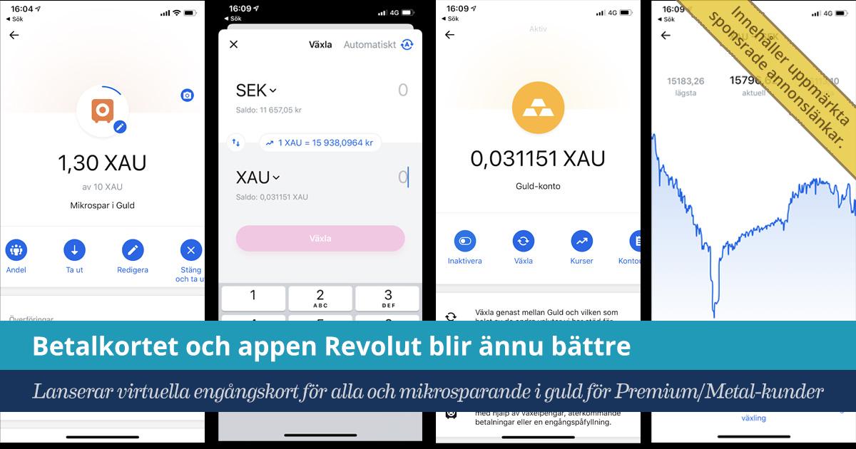 Försättsbild till artikeln: Testa Revolut-kortet och få 150 kr | Mikrosparande i guld | Reklam - Betalkortet och appen Revolut har uppdaterats och blivit ännu bättre...