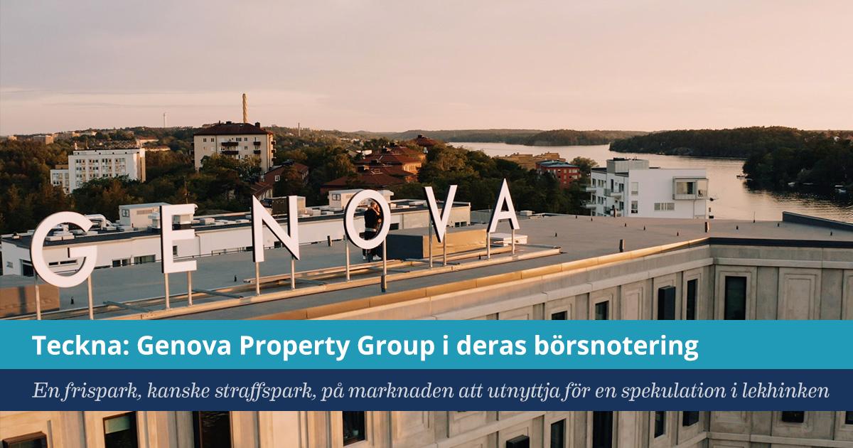 Försättsbild till artikeln: Tips på spekulation för Lekhinken: teckna Genova Property Group - En frispark, kanske straffspark, på marknaden att utnyttja för en spekulation i lekhinken