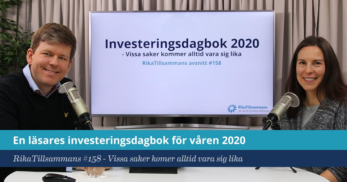 Försättsbild till artikeln: En läsares investeringsdagbok för våren 2020 - RikaTillsammans #158 - Vissa saker kommer nog alltid att vara sig lika
