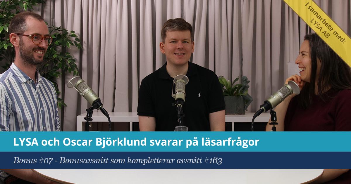 Försättsbild till artikeln: Oscar Björklund och LYSA svarar på era frågor - Bonus #07 - LYSA och Oscar Björklund svarar på era frågor
